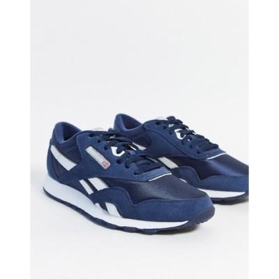 リーボック メンズ スニーカー シューズ Reebok Classic nylon sneakers in navy