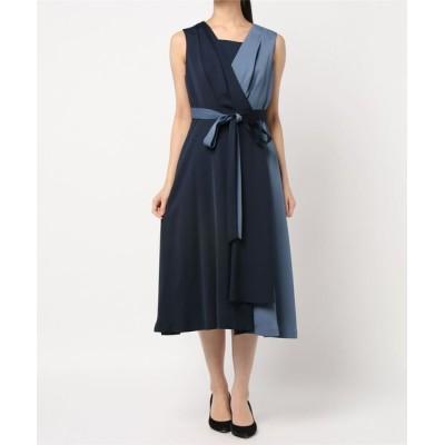 ドレス サテン配色フレアワンピース