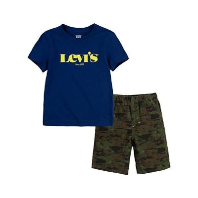 Levi's Baby Boys' Graphic T-Shirt and Shorts 2-Piece Outfit Set, Navy/Camo,