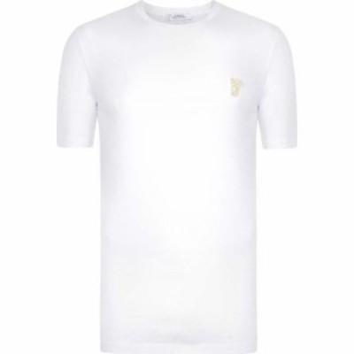 ヴェルサーチ VERSACE COLLECTION メンズ Tシャツ メデューサ トップス Gold Medusa T Shirt White V