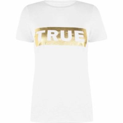 トゥルー レリジョン TRUE RELIGION レディース Tシャツ ロゴTシャツ トップス Box Logo T Shirt White/Gold