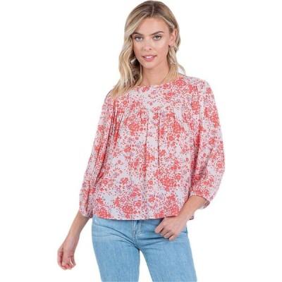 アメリカンローズ American Rose レディース ブラウス・シャツ 七分袖 トップス Frankie 3/4 Sleeve Floral Top Coral