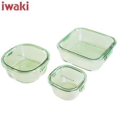 イワキ 保存容器 パック&レンジ 角型3点セット グリーン PSC-PRN-3G1 耐熱ガラス AGCテクノグラス 3点セット ギフトセット iwaki