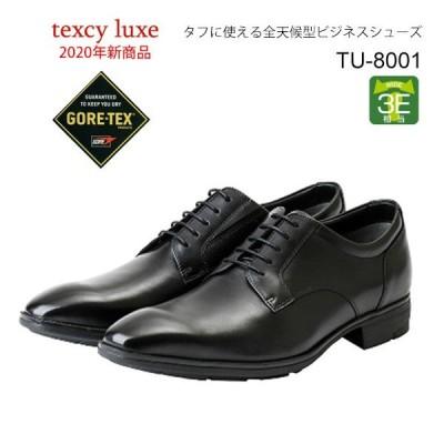 テクシーリュクス メンズ ビジネスシューズ 防水 GORE-TEX プレーントゥ 黒 3E TU-8001 texcy luxe 靴 父の日 ギフト