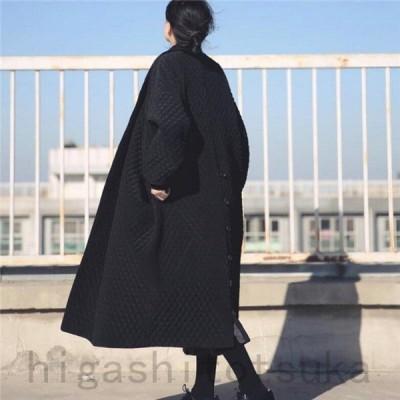 ダウンコート 中綿 ジャケット コート レディース アウター 秋 冬 ロング丈 おしゃれ ゆったり 暖かい 防寒 上品 マキシ シンプル 大きいサイズ