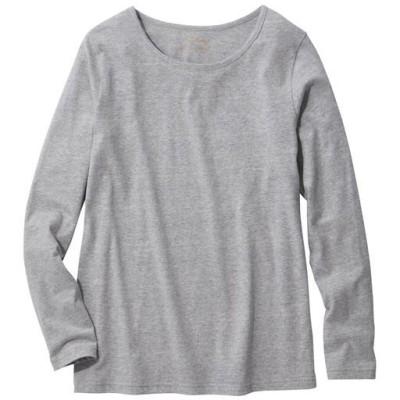 【ぽっちゃりさんサイズ】シンプルTシャツ(長袖・綿100%)/ミックスグレー/3L