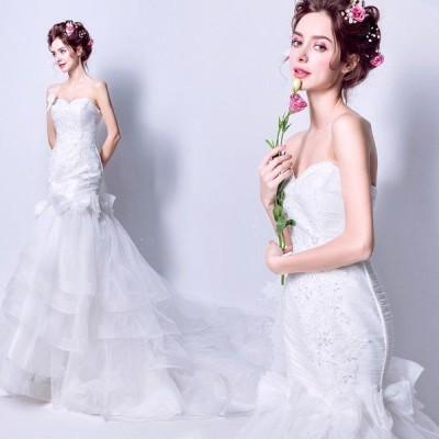 ウェディングドレス 白 マーメイドライン ウエディングドレス 安い 花嫁 ロングドレス 披露宴 マーメイドドレス 二次会 結婚式 ブライダル wedding dress