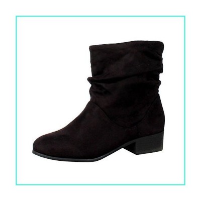 【新品】Soda Energy Women's Slouchy Pull On Low Block Heel Ankle Booties,Black,7(並行輸入品)