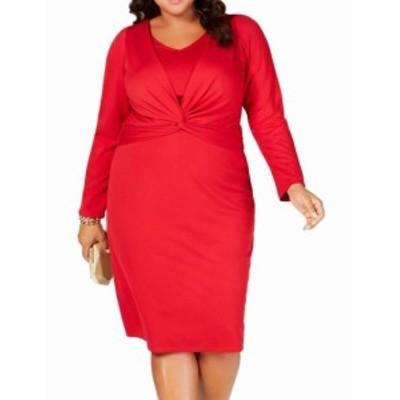 taylor テイラー ファッション ドレス Taylor Womens Sheath Dress Red Size 22W Plus Twist-Front Stretch