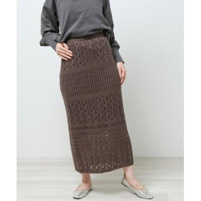 【レイカズン】 かぎ針編みロングナロースカート レディース チャコール グレー FREE Ray Cassin