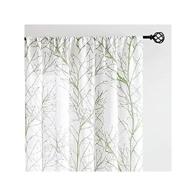 """Fmfunctex Green Sheer White Curtains 84"""" for Living Room Grey Tree Branches"""