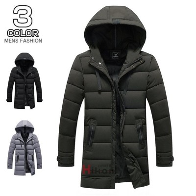 中綿ジャケット メンズ 中綿コート ミドル丈コート フルジップジャケット アウター フード付き 無地 秋冬