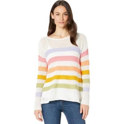 エリオットローレン Elliott Lauren レディース ニット・セーター トップス Embraceable Hue Mesh Stripe Crew Neck Sweater Multi