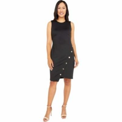トミー ヒルフィガー Tommy Hilfiger レディース ワンピース ワンピース・ドレス Scuba Asymmetrical Hem Sheath Dress w/ Snaps Black