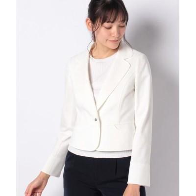 MISS J/ミス ジェイ グログランポンチ テーラードジャケット ホワイト 40
