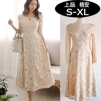大きいサイズ韓国ファッションパーティードレス袖あり結婚式総レースミモレ丈ロングワンピース