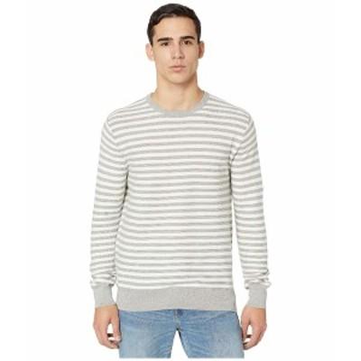 ジェイクルー メンズ ニット&セーター アウター Cotton Crewneck Sweater in Striped Garter Stitch Strie Heather Grey