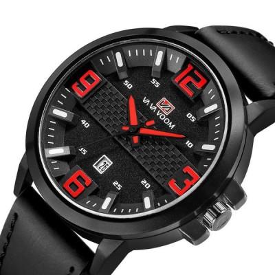 [レッド]VA VA VOOM VA-217ファッションメンズウォッチカレンダーディスプレイ3ATM防水レザーストラップクォーツ時計