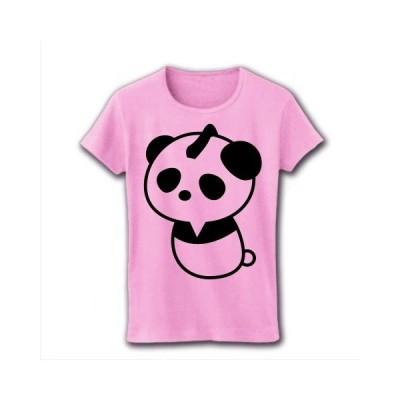 侍きのこパンダ リブクルーネックTシャツ(ライトピンク)