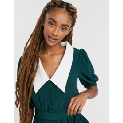 エイソス レディース ワンピース トップス ASOS DESIGN contrast collar puff sleeve romper in green Green