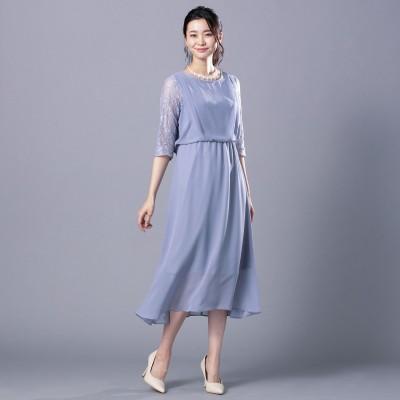 レイヤード風バックシャンシフォンレースドレス【フォーマル】(trattoria)