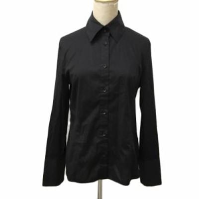 【中古】フェミシテ Femicite シャツ ブラウス スタンダード 無地 長袖 40 黒 ブラック レディース