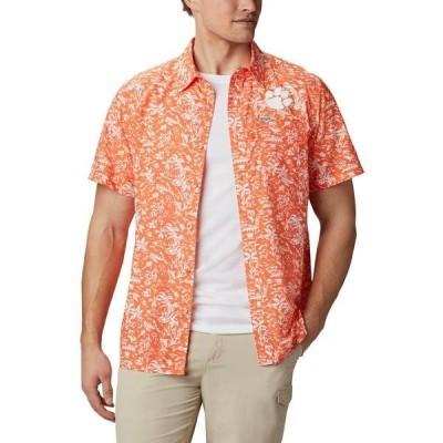 コロンビア シャツ トップス メンズ Columbia Sportswear Men's Clemson University Super Slack Tide Shirt Orange