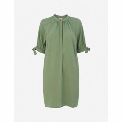 ホイッスルズ WHISTLES レディース ワンピース ワンピース・ドレス Celestine cuff-tie crepe dress GREEN