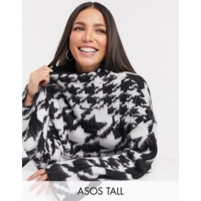 エイソス レディース ニット・セーター アウター ASOS DESIGN Tall oversize sweater with high neck in black and white pattern Mono