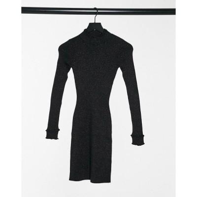 ファッションモンキー レディース ワンピース トップス Fashion Union mini dress with high neck in glitter knit Black lurex