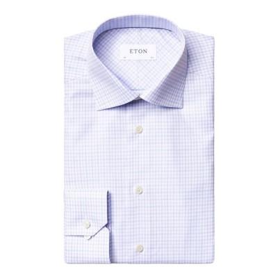 エトン メンズ シャツ トップス Men's Slim-Fit Plaid Cotton Dress Shirt