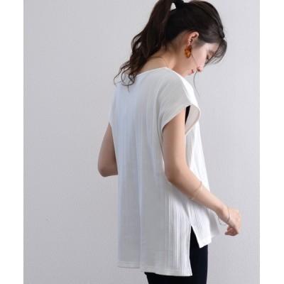 Classical Elf / さらり、綿100%。ランダムリブフレンチボートネック半袖Tシャツ WOMEN トップス > Tシャツ/カットソー