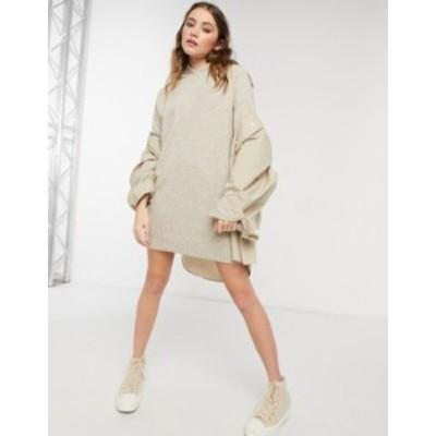 エイソス レディース ワンピース トップス ASOS DESIGN mini dress with hood in taupe Taupe marl