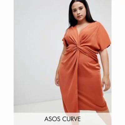 エイソス ワンピース ASOS DESIGN Curve twist midi dress with kimono sleeve Rust