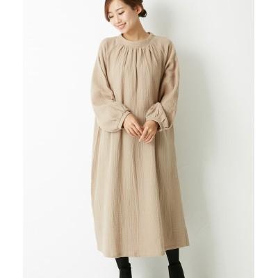 ダブルガーゼプチハイネックギャザーワンピース (ワンピース)Dress