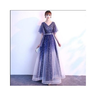 Vネック スパンコール ワンピース レディース イブニングドレス ロングドレス パーティードレス お呼ばれドレス 結婚式 韓国風 きれいめ 二次会 Aライン 高級感