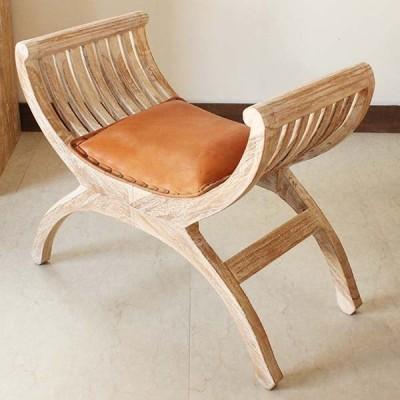受注生産品 スツール チェア カルティニチェア アンティークウォッシュ ホワイト 無垢材 チーク 本皮 木製椅子 納期約4ヶ月