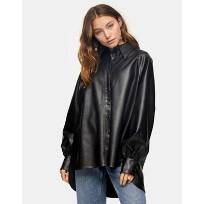 トップショップ レディース シャツ トップス Topshop oversized faux leather shirt in black