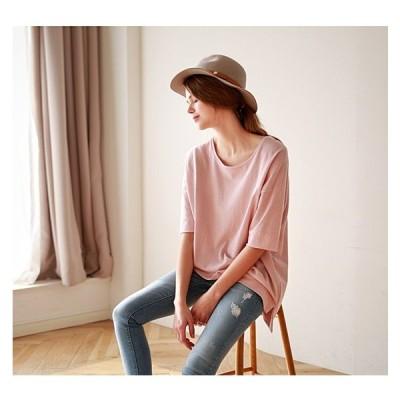 夏 Tシャツ レディース 夏服 女の子 トップス 半袖 ゆったり 無地 OL 通勤 通学  送料無料