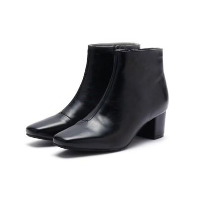 【エスペランサ】 スクエアミドルヒールフィットショートブーツ レディース ブラック L(24.0cm-24.5cm) ESPERANZA