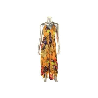 ドレス 女性  ニコルミラー Nicole Miller 2463 レディース オレンジ シルク プリントed ノースリーブ Maxi ドレス 8