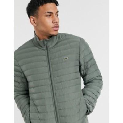 ラコステ メンズ ジャケット・ブルゾン アウター Lacoste combinable collapsible lightweight quilted zip jacket Green