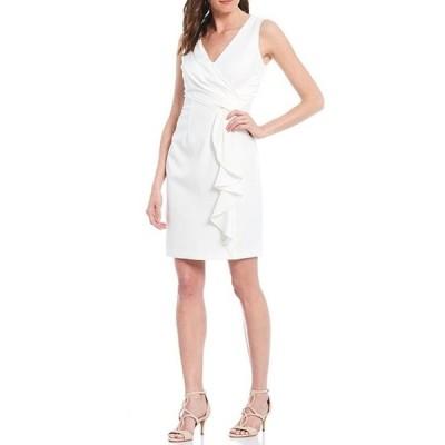 ヴィンスカムート レディース ワンピース トップス Sleeveless Wrap Front Ruffled Crepe Sheath Dress
