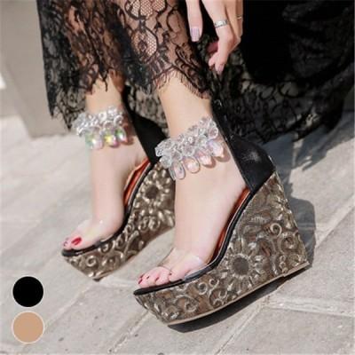 ミュールサンダルウェッジソールパーティー結婚式お呼ばれ演奏会靴シューズパンプスレディースセレブゴージャスパールビジュー黒被らない
