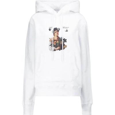 オフホワイト Off-White レディース パーカー トップス Printed cotton hoodie White