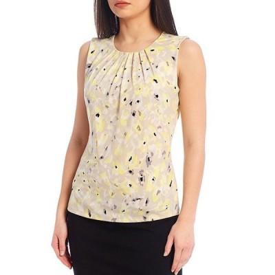カルバンクライン レディース タンクトップ トップス Floral Print Matte Jersey Pleat Neck Sleeveless Top