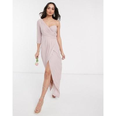 ティーエフエヌシー ミディドレス レディース TFNC bridesmaid one shoulder wrap front maxi dress in pink エイソス ASOS ピンク