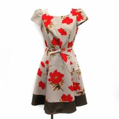 【中古】エムズグレイシー M'S GRACY ワンピース フレア ひざ丈 花柄 半袖 36 薄茶 赤 /YM レディース