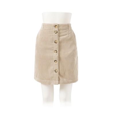 【dowm1】【1000円以下】フロントボタンコーデュロイ台形スカート