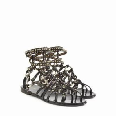 バルマン サンダル・ミュール Embellished Leather Sandals black